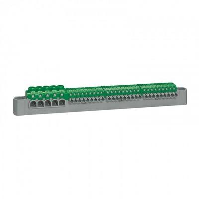 LEGRAND - Bornier de répartition IP 2X - terre - 5 connexions 6 à 25 mm - vert - L 227 mm - REF 405055