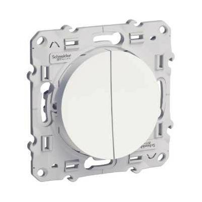 SCHNEIDER ELECTRIC - Odace double bouton poussoir Blanc à vis - Réf - S520216
