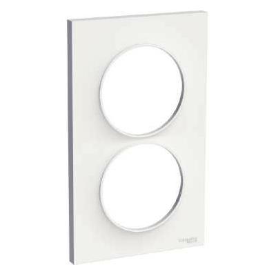 SCHNEIDER ELECTRIC - Odace Styl, plaque Blanc 2 postes verticaux entraxe 57mm - REF S520714