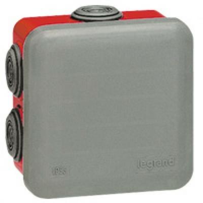 LEGRAND - Boîte carrée 80x80x45 étanche Plexo gris/rouge - embout (7) -IP55/IK07- 960C - REF 092015