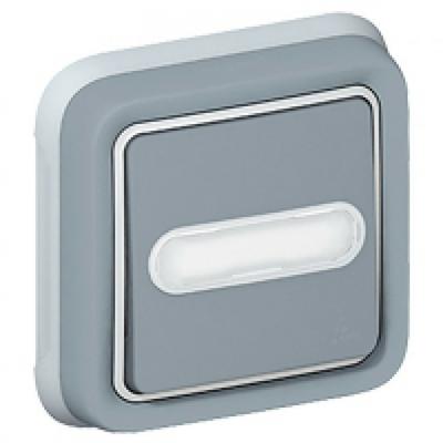LEGRAND - Poussoir NO + NF lumineux Prog Plexo complet encastré gris - 10 A - REF 069824
