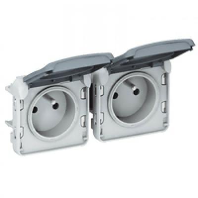 LEGRAND - Prises 2x2P+T horizontal précâblées Prog Plexo composable gris - 16 A - 250 V - REF 069562
