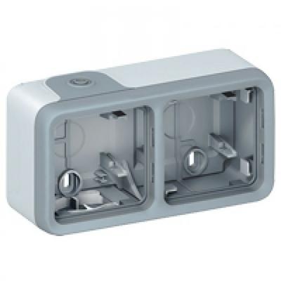 LEGRAND - Boîtier à embouts Prog Plexo composable gris - 2 postes horizontaux -REF 069672