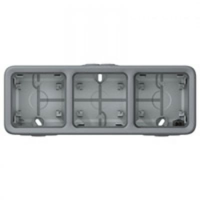 LEGRAND - Boîtier à embouts Prog Plexo composable gris - 3 postes horizontaux - REF 069680