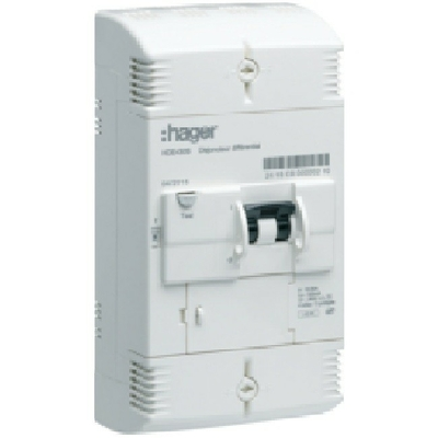 HAGER - Disjoncteur de branchement différentiel -  4P 10/30A 500mA inst. - Ref HDE460