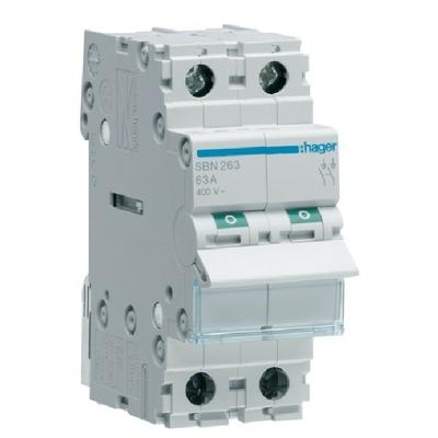 HAGER - Interrupteur Sectionneur - 2P - 63A - Ref SBN263