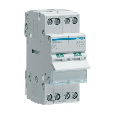 HAGER  - Interrupteur Sectionneur 4P - 32A - Ref SBN432