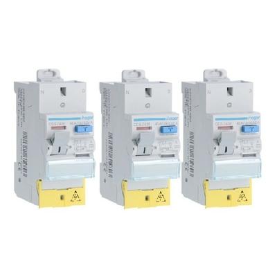 HAGER - Lot de 3 Interrupteurs différentiels - 40A - Ref CDS743F