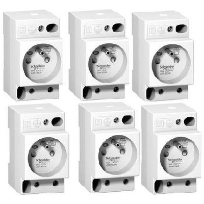 LOT - SCHNEIDER ELECTRIC  6 Prises Modulaires  16A  2P+T standard français 250V ref A9A15306