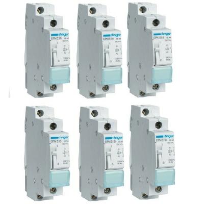 LOT - HAGER - 6 Télérupteurs - 16A - A Vis - Ref EPN510