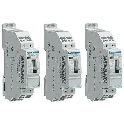 LOT - HAGER - 3 Contacteurs - 20A - A Vis - Ref  - ETS221B