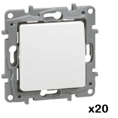 LOT - LEGRAND - 20 Poussoirs simples Niloé - 6 A - 250 V~ - NO-NF - Pur ref 664705
