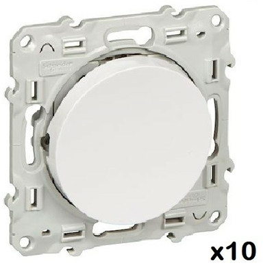 LOT - SCHNEIDER ELECTRIC - 10 Boutons Poussoirs Odace - Blanc - 10 A - à vis ref S520206