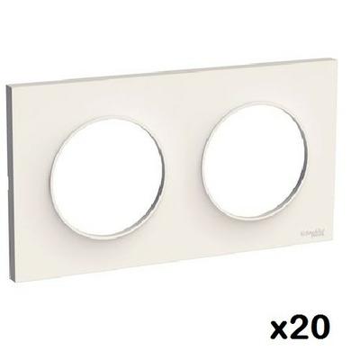 LOT - SCHNEIDER - 20 plaques Blanc Odace - 2 Postes Réf S520704