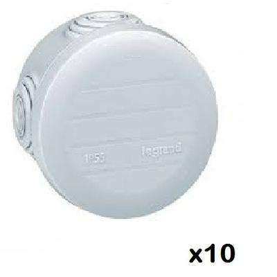 LOT - LEGRAND - 10 Btes rondes - Ø 70/h 45 étanche Plexo gris – embout (4) -IP55/IK07- 650C ref 092002