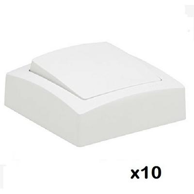 LOT - LEGRAND - 10 Interrupteurs va-et-vient appareillage saillie composable – blanc - ref  086101