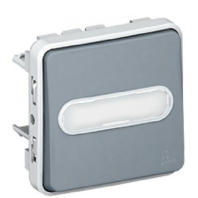 LEGRAND - Poussoir NO lumineux porte-étiquette Prog Plexo composable gris - 10 A - Ref 069543
