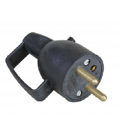 EUROHM - Fiche Électrique Mâle Coiffe 2P+T 16A Noir Sortie Droite Anneau - REF 61037