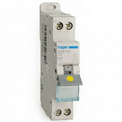 HAGER - Disjoncteur 1P+N 3kA C-2A 1M - Bornes à vis - Ref MFN702