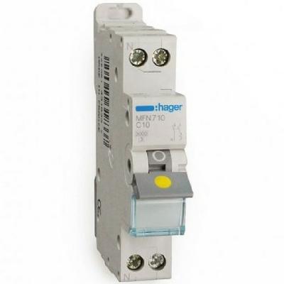 HAGER - Disjoncteur 1P+N 3kA C - 10A - 1 Module - A vis - Ref MFN710