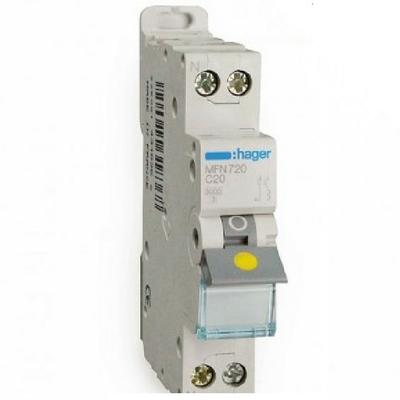 HAGER - Disjoncteur 1P+N 3kA C-20A - 1M - Bornes à vis - Ref MFN720