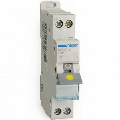 HAGER - Disjoncteur 1P+N 3kA C-16A - 1M - Bornes à vis - Ref MFN716