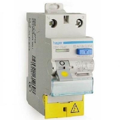 HAGER - Interrupteur différentiel 2P 63A 30mA Type AC borne décalées - Ref CDC764F