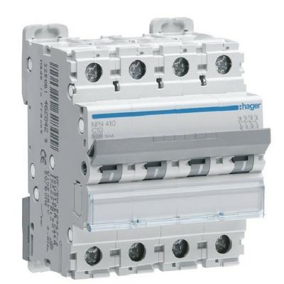 HAGER - Disjoncteur 4P 6-10kA courbe C - 25A 4 modules - Ref NFN425