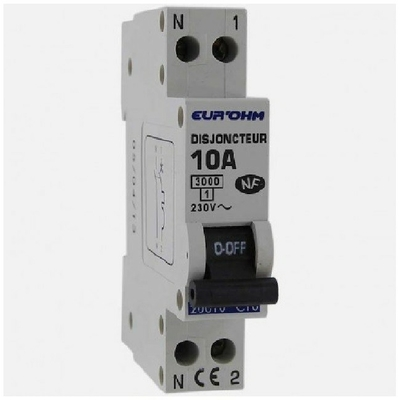 Eur'ohm - Disjoncteur 1P+N 10A NF,cx vis haut/bas 3kA - Réf 20010