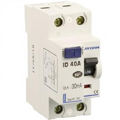 Eur'ohm - Interrupteur différentiel 1P+N - 40 A / 30 mA - Réf 23040
