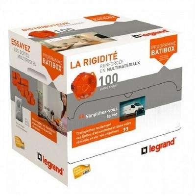 LEGRAND - Distributeur boîtes multimatériaux (x 100) Prog. Batibox - prof. 50 mm - REF 080116