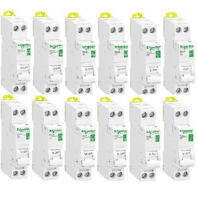 SCHNEIDER ELECTRIC - Lot de 12 Disjoncteurs modulaires Resi9 XP- 1 pôle + N -10A - courbe C - REF R9PFC610