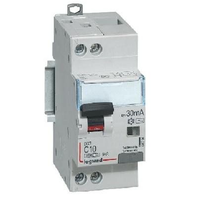 LEGRAND - Disjoncteur différentiel DX³4500 arrivée haute et départ bas à vis U+N 230V~ - 10A typeAC 30mA - courbe C - 2 modules- Ref - 410704