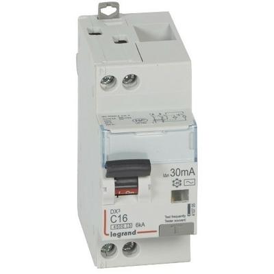 LEGRAND - Disjoncteur différentiel DX³4500 arrivée haute et départ bas à vis U+N 230V~ - 16A typeAC 30mA - courbe C - 2 modules- Ref - 410705
