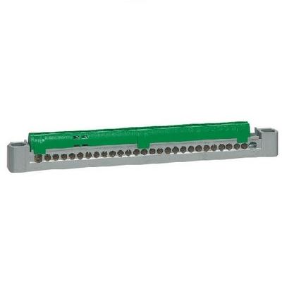 LEGRAND - Bornier de répartition isolé IP2X terre - 1 connexion 6mm à 25mm - vert - longueur 227mm  - Ref - 404839