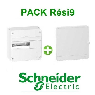 SCHNEIDER ELECTRIC - Pack Resi9 - Coffret + Porte - Resi9 -13 modules - 1 Rangée - REF - Resi9131
