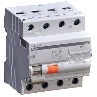 DIGITAL ELECTRIC - Interrupteur Différentiel Tétrapolaire 40A - 4 modules Type AC - Réf -03432