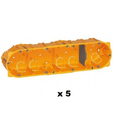 LEGRAND - Lot de 5 Boîtes multiposte Batibox - cloison sèche - 4 postes - 8/10 mod - prof. 40 - REF 080044