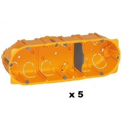 LEGRAND - Lot de 5 Boîtes multiposte Batibox - cloison sèche - 3 postes - 6/8 mod - prof. 50 - REF 080053