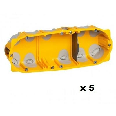 LEGRAND - Lot de 5 Boîtes multipostes Prog. Ecobatibox - 3 postes - prof. 40 mm - REF 080023