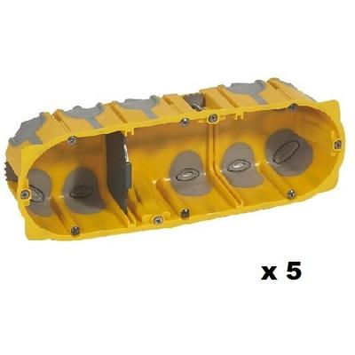 LEGRAND - Lot de 5 Boîtes multipostes Prog. Ecobatibox - 3 postes - prof. 50 mm - REF 080033