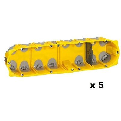 LEGRAND - Lot de 5 Boîtes multipostes Prog. Ecobatibox - 4 postes - prof. 50 mm - REF 080034