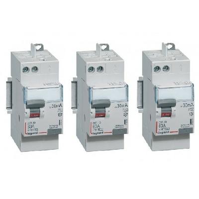 LEGRAND - Lot de 3 Interrupteurs différentiels DX-ID - vis/auto - 2P - 230V~ - 63A - type A -30mA-départ haut- 2 M - REF 411651