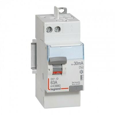 LEGRAND - Interrupteur différentiel DX-ID - vis/auto - 2P - 230V~ - 63A - type AC -30mA-départ haut- 2 M - REF 411650