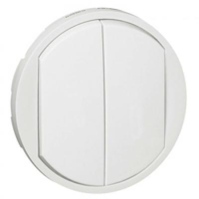 LEGRAND - Enjoliveur Céliane - double Va et Vient /poussoir - doigt large blanc - REF 068002