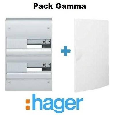 HAGER - Pack Gamma Coffret + Porte - 26 modules - 2 rangées - REF - GAMMA2