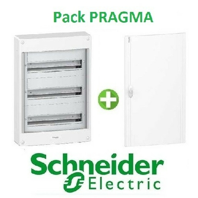 SCHNEIDER ELECTRIC - Pack Pragma - Coffret + Porte - Pragma -18 modules - 3 Rangées - REF - PRA137