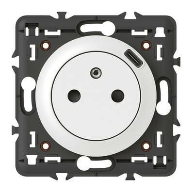 LEGRAND - Prise Surface Céliane avec chargeur Type-C intégré - support et enjoliveur Blanc - REF 068127