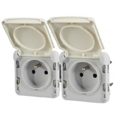 LEGRAND - Prises 2x2P+T horizontal précâblées Prog Plexo composable blanc - 16 A - 250 V - Ref 069642