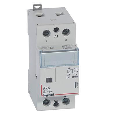 LEGRAND Contacteur de puissance CX³ bobine 230V~ sans commande manuelle - 2P 250V~ - 63A - contact 2F - 2 modules Réf 412527
